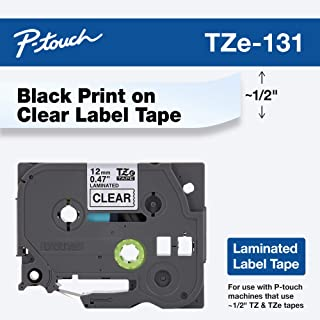 "Brother Genuine P-touch TZE-131 Tape, 1/2"" (0.47"") Standard Laminated P-touch Tape, Black on Clear, Perfect for Indoor or ..."