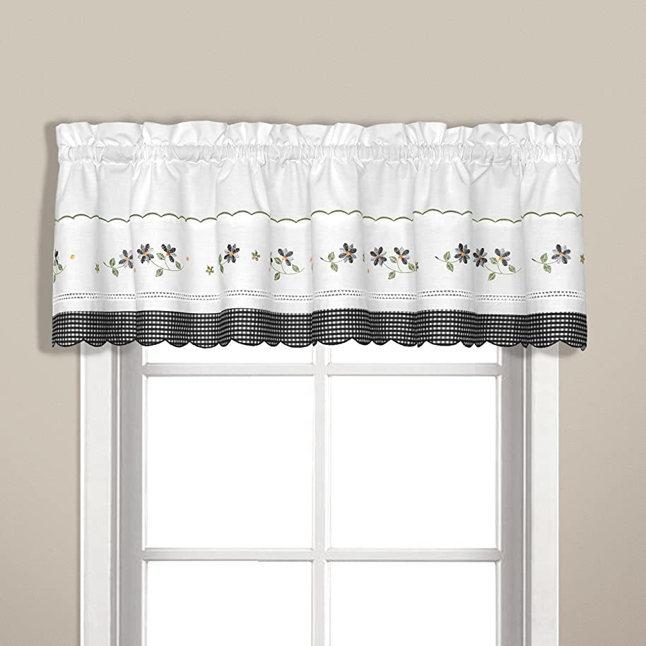 United Curtain Gingham Embroidered Valance, 60 by 14-Inch, Black