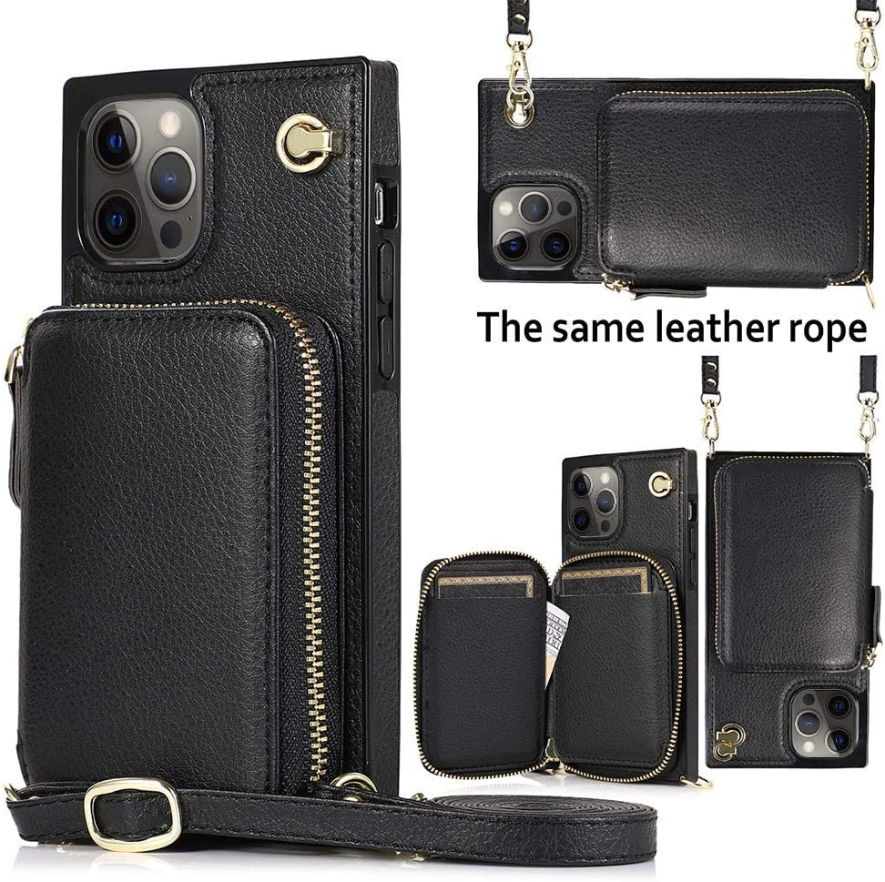 LCHULLE Wallet Case Compatible with iPhone 12 Mini Leather Case with Credit Card Holder Slots Handbag Purse with Crossbody Chain Wrist Strap Zipper Wallet Cover Compatible with iPhone 12 Mini, Black