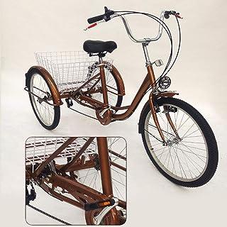 Triciclo para Adultos de 24 'y 3 Ruedas con lámpara Bicicleta de 6 velocidades, Canasta de Compras Triciclo Triciclo Pedal Bicicleta de Ciclismo, para IR de Compras al Aire Libre Picnic Sports