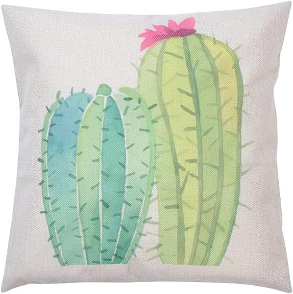 Whitelotous 18 X 18 Inch Creative Cactus Succulent Plants Cotton Linen Decorative Square Cushion Cover Throw Pillow Case Home Sofa Car Decor 4