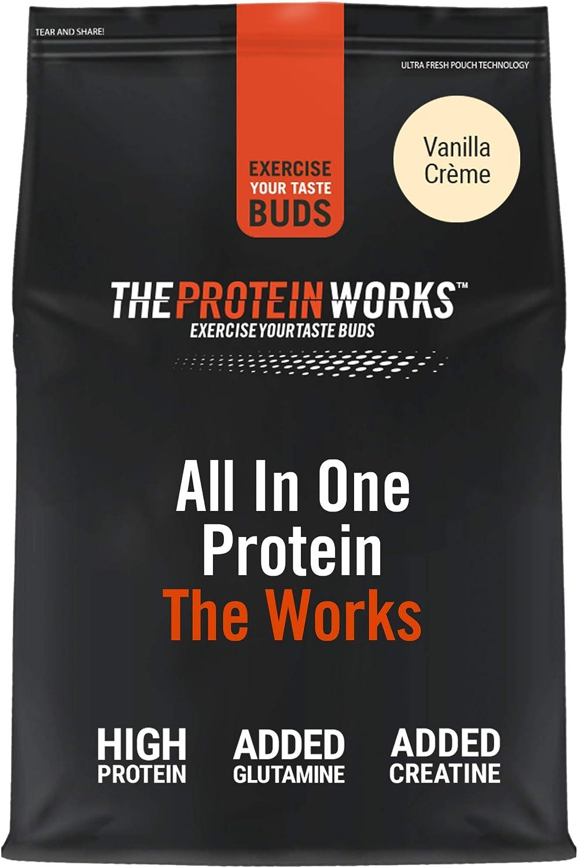 Batido de Proteína Todo en Uno   Sabor Plátano suave, 1 kg   Ayuda al Desarrollo Muscular