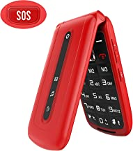Ushining Unlocked Flip Phone 2G Dual SIM Dual Standby Big Button and Large Volume Basic Cell Phone SOS Mobile Phone Easy to Use Phone for Elderly and Kids.(Red)