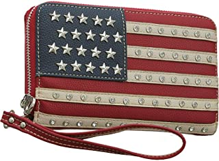 Montana West Studded American Flag Red Zip-Around Wristlet Wallet