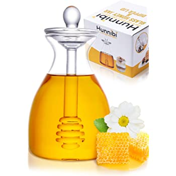 Handmade Honey Jar with Dipper, Glass Made Honey Dipper and Honey Pot By Hunnibi