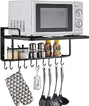 AcornFort K-102 2 capas de aleación de aluminio negro horno microondas estante de cocina soporte para colgar en la pared con 10 ganchos W606