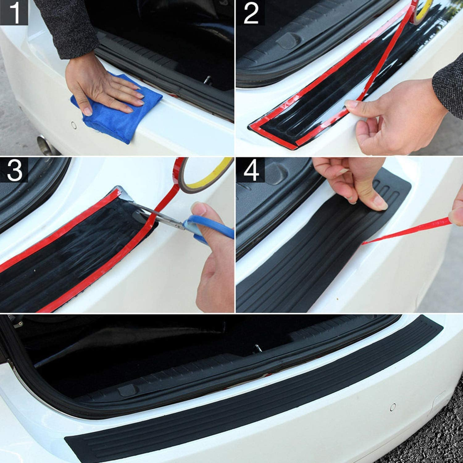 Car Rear Sill Predector Plate Rubber Cover Guard Pad Moulding Trim