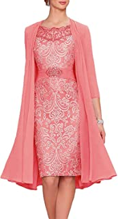 Uther Women's Lace Mother Of The Bride Dress With Jacket A-Line Short Evening Gown