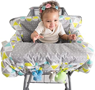 Alphabetz Alphabetz 2-in-1 Large Shopping Cart Cover High Chair Cover, Safety Belt, Cart Cover, Toddler, Universal Size, Fits All Big Box Retialers, Blue, Green