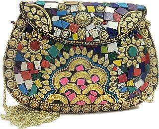 Mano nupcial de las mujeres mosaico bohemio monedero étnico metal embrague multicolor dorado