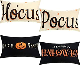 Boao 4 Pieces Happy Halloween Pillow Cases Treat or Trick Pillow Cover Hocus and Pocus Cushion Covers Cotton Linen Decoration for Halloween