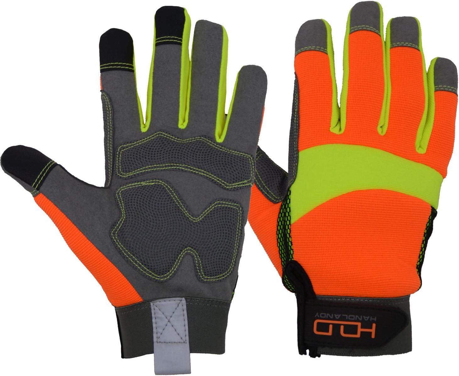 HANDLANDY Orange Brand new Reflective Gloves Safety lowest price High Vis Antivibratio