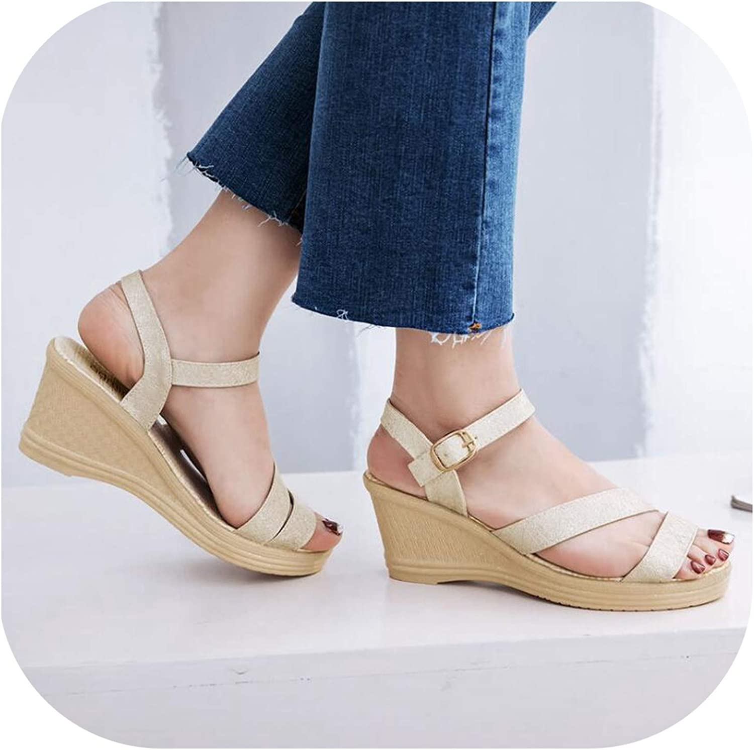 Meiguiyuan Summer Slope Sandals Female Platform Wedge Fashion Sandals with Toe White gold bluee color Sandals