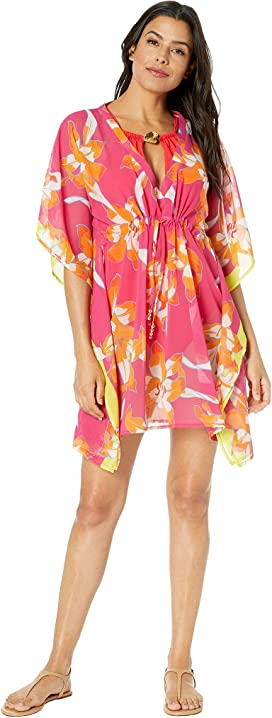 ff6ac5bec8544 Echo Design Bicolor Floral Silk Butterfly Cover-Up at Zappos.com