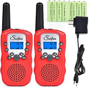 Swiftion Rechargeable Kids Walkie Talkies for Kids 22 Channel 0.5W FRS/GMRS 2 Way Radios with Charger and Rechargeable Children walkie talkies Batteries (Red, Pack of 2)