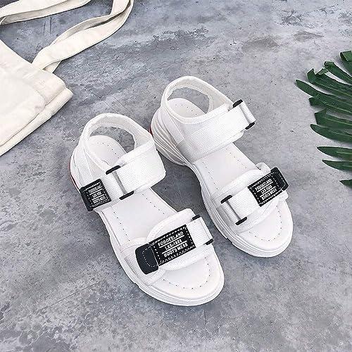 LXDABAOFA Sandales Femmes,Chaussures d'été Sandales Plate-Forme Femmes Femmes Blanches Femmes Sandales Gladiateur Talon Med Sandalias Souliers