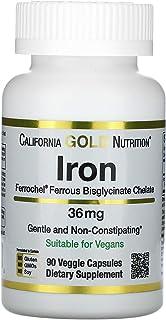 California Gold Nutrition Ferrochel Iron (Bisglycinate), 36 mg, 90 Veggie Capsules