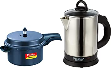 Prestige Deluxe Plus Induction Base Hard Anodized Pressure Cooker, 7.5L, Black + PKGSS 1.7L 1500W Electric Kettle (Stainless Steel)