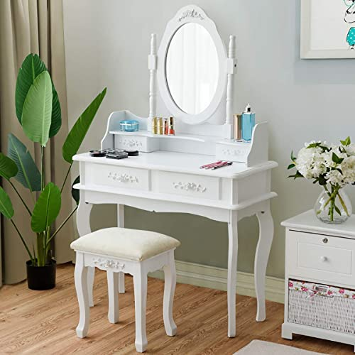 discount CHARMAID Makeup Table with Rotatable Mirror and sale 4 Drawer, Princess Girls Women Dressing Table with Cushioned Stool, Vanity Set with Oval online sale Mirror (White) online sale