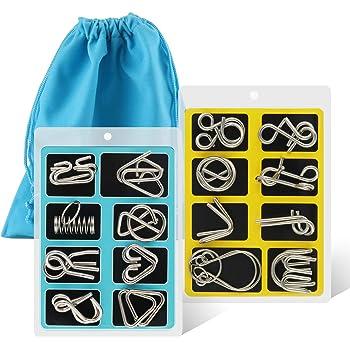 Coogam Casse-tête métallique Wire Set de 16, Casse-tête IQ Test Disentanglement Puzzles Jeu Magic Toy Trick pour Enfants et Adultes Challenge