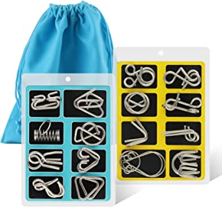 Coogam Metal Wire Puzzle Set of 16 with Pouch,Brain Teaser IQ Test Disentanglemen Iron Link Unlock Interlock Game Chinese ...