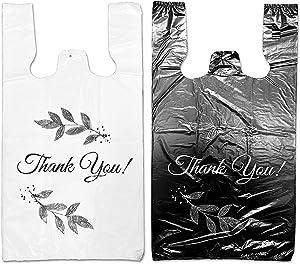 "Weilife. Plastic grocery bag/ Thank you bag/Plastic T shirt bag with handle.Bolsas De Plastico Para Negocio12""x7""x22"" ,for Retail Stores, Carryout (Black, Large)"