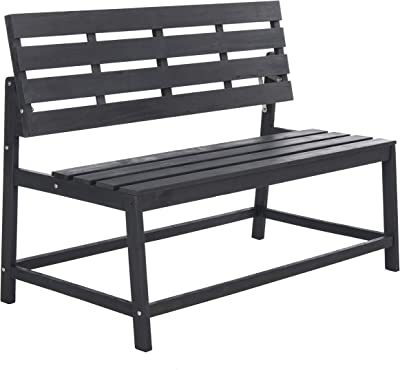 Safavieh PAT6753B Collection Ruben Grey Balcony Bench and Table Outdoor Set, Dark Slate Gray