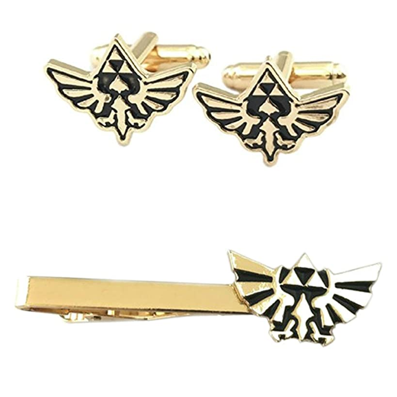 Outlander Legend of Zelda Hyrule Crest Cufflink & Tiebar - New 2018 Superhero Games - Set of 2 Wedding Logo w/Gift Box