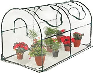 Seven colors house Reinforced Portable Mini Greenhouse 35.4 x 70.8 x 39 inches Vegetable Plant Mini Arc Greenhouse with Clear Cover for Indoor or Outdoor Plants