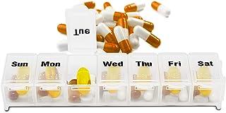 "Dukal 7 Day Pill Organizer Box 6.75"" x 1"" x 1"". Plastic Medicine Reminder with Snap Lids, 7 Days. Transparent Weekly Plann..."