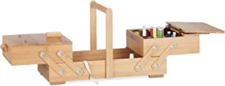 Relaxdays XL Bamboo Sewing Box, Many Compartments, Foldable, Empty Organizer Basket, HWD 24.5 x 44 x 21.5 cm, Natural