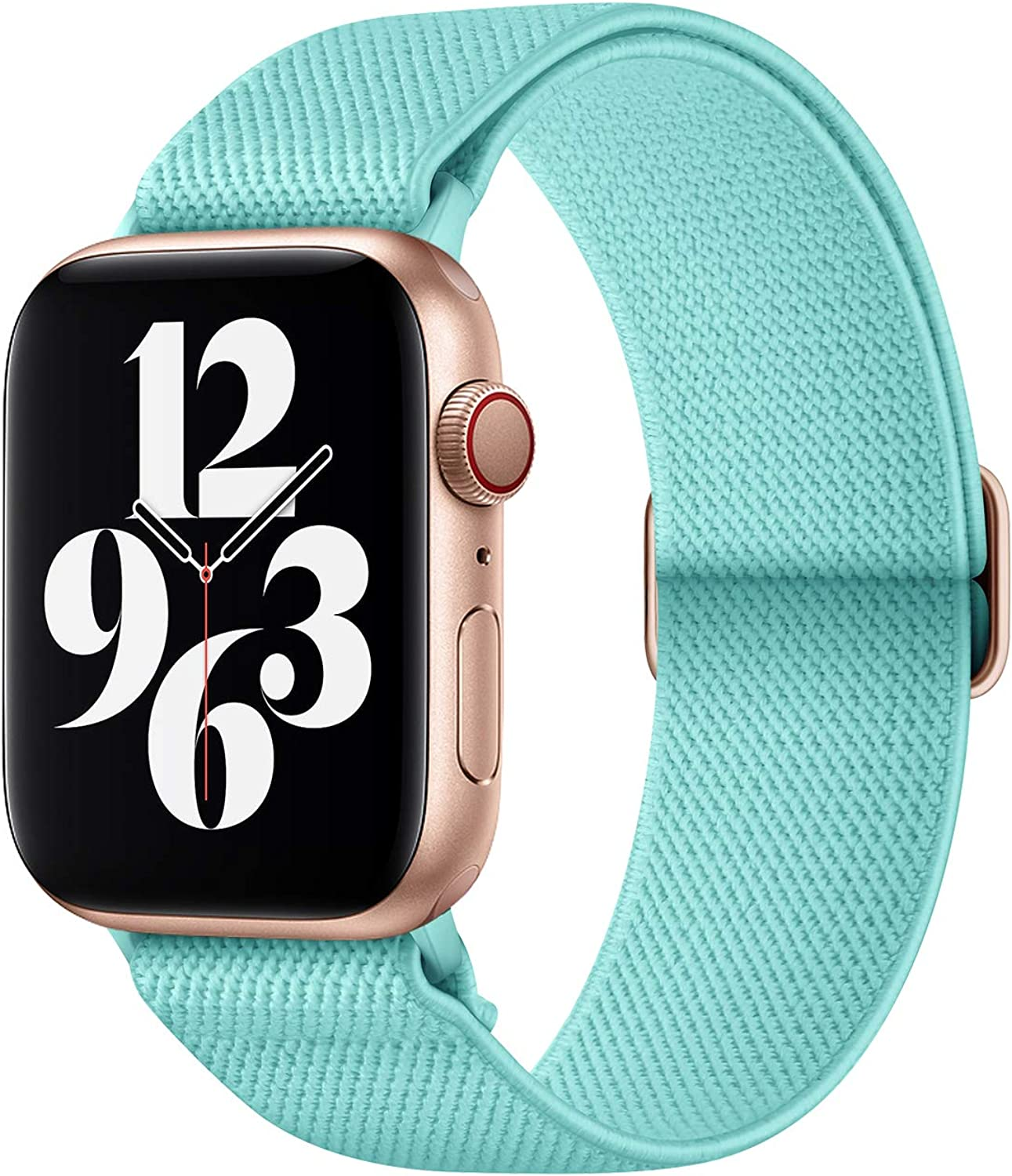 AMANECER Stretchy Nylon Watch Bands Compatible with Apple Watch Series 6/5/4/3/2/1 SE, Adjustable Braided Elastic Sport Loop Bands for iWatch Women Men