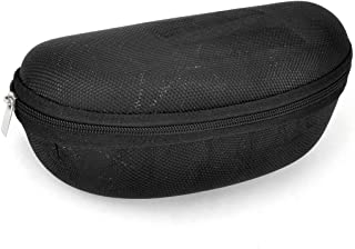uxcell Zipper Closure Textured Surface Glasses Case Box Holder Black