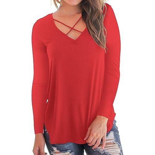 red long sleeve t shirt women's