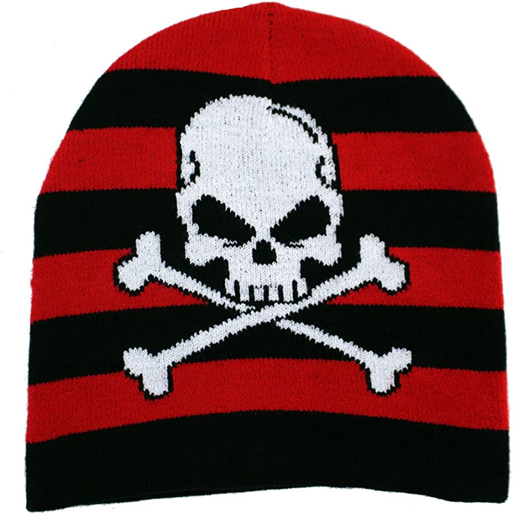 Leema Enterprises Black and Red Striped Beanie with Skull and Crossbones