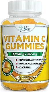 Vitamin C Gummies 1000mg - with Zinc Adults Kids Potent Immune Support Chewable Gummy Orange Flavor (1 Pack)