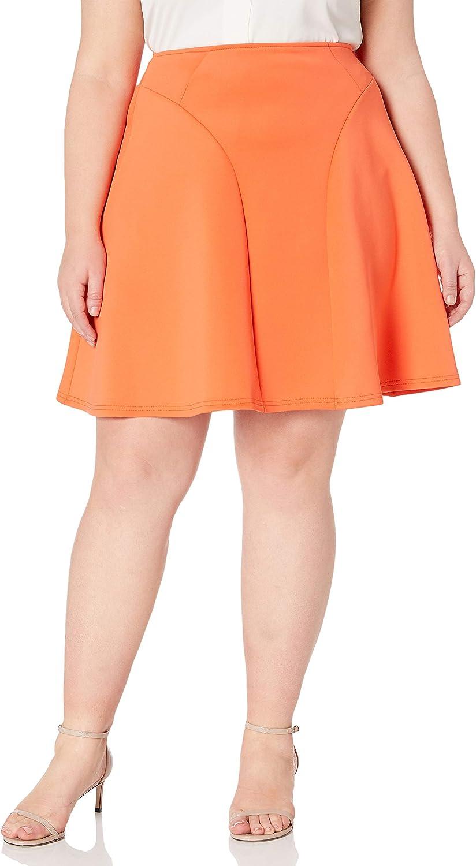 Modamix Women's Plus Size High Waisted Scuba Flare Skirt
