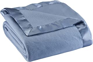 Miles Kimball Satin Fleece Blanket by Oakridge Comforts, Full/Queen, Twin or King Size – 100% Polyester Lightweight Fabric and Cozy Satin Binding Edges in Tightly Folding Travel Blanket Blue