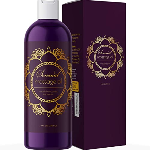 Sensual Massage Oil for Couples - No Stain Lavender Massage Oil for Massage Therapy and Relaxing Massage Oil with Swe...