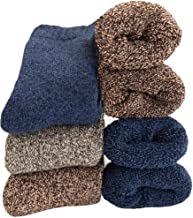 Mens Heavy Thick Wool Socks - Soft Cozy Warm Comfort Knit Winter Crew Socks (Pack of 3),Multicolor,Free Size