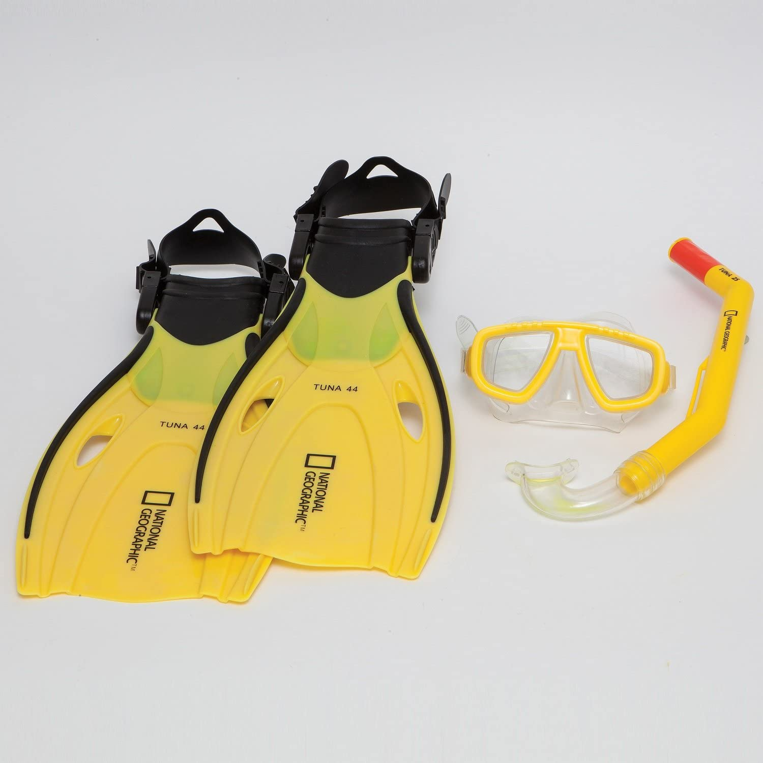 National Geographic Snorkler Experience 3 Piece Set with Tuna 2S Mask, Wahoo SemiDri Snorkel and Tuna 44 Adjustable Fins