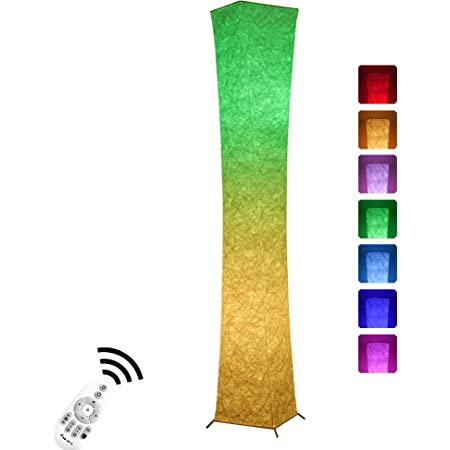 Floor Lamp Chiphy 64 Tall Lamp Dimmable And Color Changing Led Smart Bulbs And White Fabric Shade With Remote Control Standing Lamp For Living Room Bedroom And Play Room