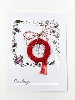 Martisor potcoava charm cu snur traditional rosu si alb 1 Martie Ziua Mamei. Martenitsa romanian martisor 8 Martie