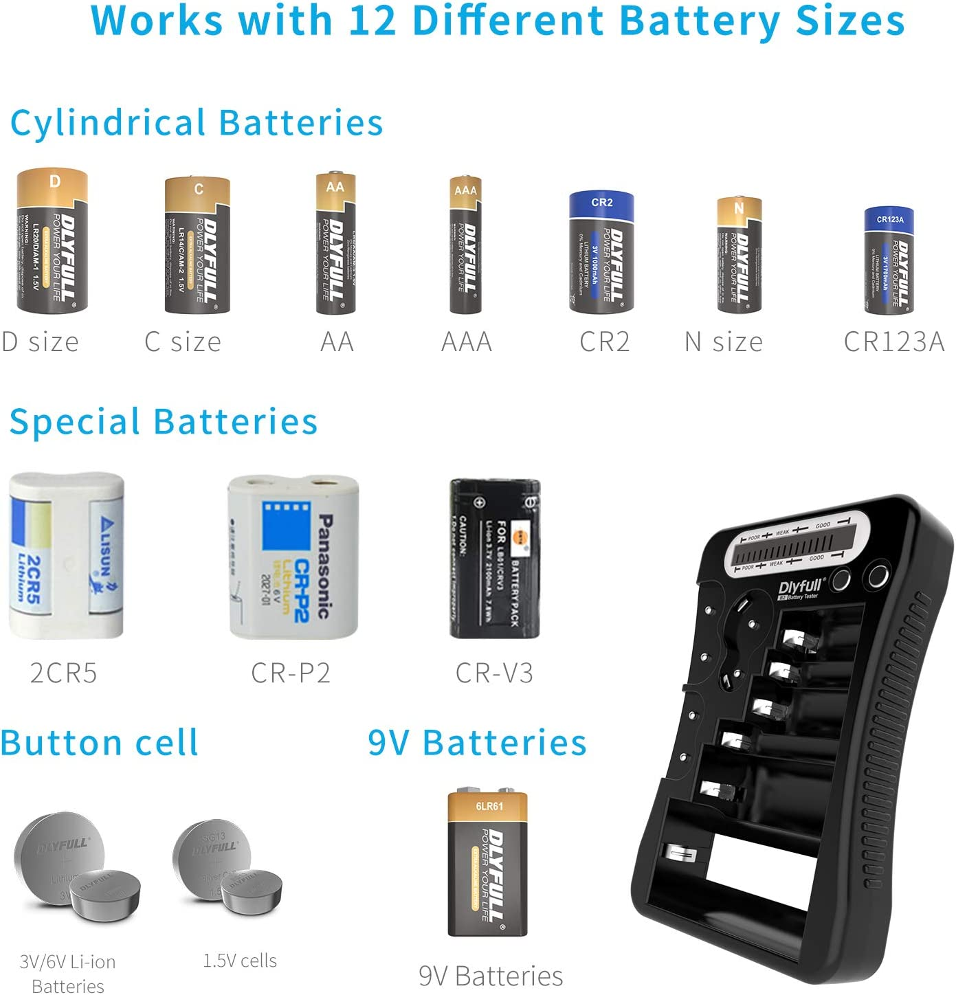 Multi Purpose Small Battery Checker for AA AAA C D 9V CR2032 CR123A CR2 CRV3 2CR5 CRP2 1.5V//3V Button Cell Batteries Dlyfull Universal Battery Tester with LCD Display Black