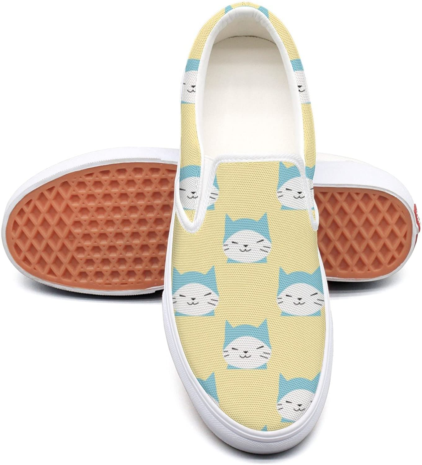 Lalige Cartoon Kitty Cat Meow Women's Printed Graphics Canvas Slip-on Sneakers