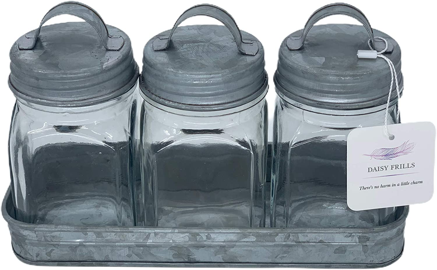 Decorative Jars with Galvanized Challenge the lowest price of Japan Brand Cheap Sale Venue ☆ Tray Set 3