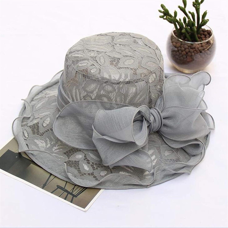 ZYYJ Ylqlbs New Tea Party Wedding Bow Hat Female Summer Organza Church Derby Hat Fascinator Cap Women Lady (Color : Grey)