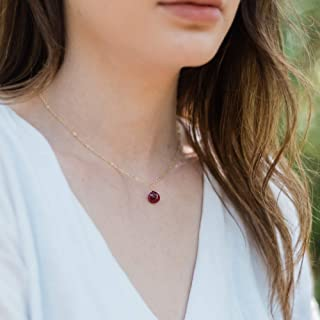 """Tiny ruby teardrop necklace in 14k gold fill - 16"""" chain with 2"""" extender"""