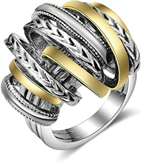 Titanium Stainless Steel Vintage Signature Wide Crossover 2 Tone Statement Ring