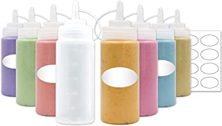 8-Pack Plastic Squeeze Squirt Bottles for Condiments with Caps and Measurements,Labels Included, Ideal for Sauce, Ketchup, BBQ, Dressing, Paint, Workshop, Pancake Art Dispenser, and More (8 OZ)